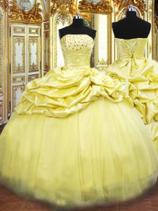 Graceful Strapless Sleeveless Taffeta Ball Gown Prom Dress Beading and Pick Ups Lace Up
