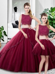 On Sale Fuchsia Three Pieces Scoop Sleeveless Tulle Floor Length Zipper Lace and Ruching Quinceanera Dress