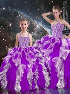 Multi-color Sleeveless Organza Lace Up Sweet 16 Quinceanera Dress for Military Ball and Sweet 16 and Quinceanera