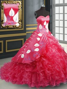 Sleeveless Organza Brush Train Lace Up Quinceanera Gowns in Coral Red with Embroidery and Ruffled Layers
