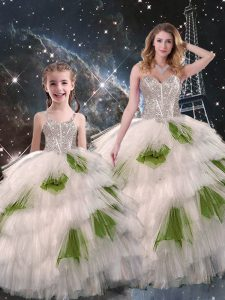 Ideal Ball Gowns Sweet 16 Quinceanera Dress Multi-color Sweetheart Organza Sleeveless Floor Length Lace Up