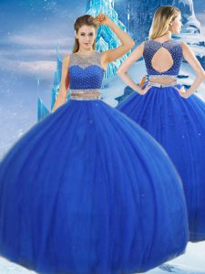 Free and Easy Asymmetrical Royal Blue 15 Quinceanera Dress Tulle Sleeveless Beading and Sequins