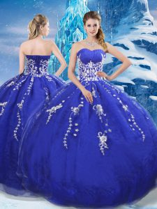Latest Sleeveless Lace Up Floor Length Appliques Sweet 16 Dress