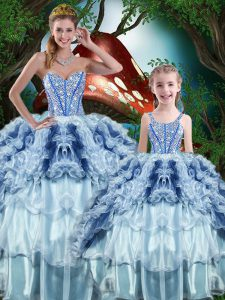 Sleeveless Lace Up Floor Length Beading and Ruffles and Ruffled Layers Sweet 16 Dresses