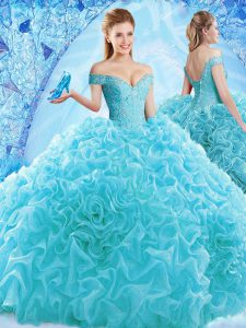 Top Selling Aqua Blue Lace Up Ball Gown Prom Dress Ruffles and Pick Ups Cap Sleeves Brush Train