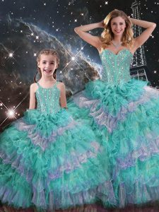 Floor Length Multi-color Vestidos de Quinceanera Sweetheart Sleeveless Lace Up
