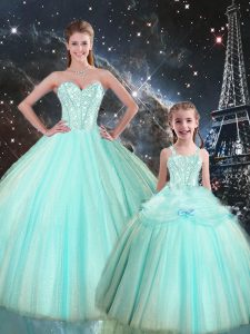 Ball Gowns Ball Gown Prom Dress Turquoise Sweetheart Tulle Sleeveless Floor Length Lace Up