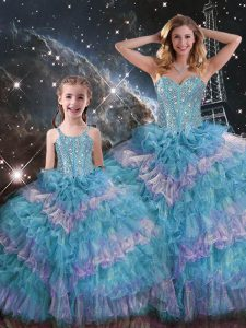 Classical Multi-color Sweet 16 Quinceanera Dress Military Ball and Sweet 16 and Quinceanera with Beading and Ruffled Layers Sweetheart Sleeveless Lace Up
