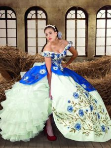 Edgy Sleeveless Lace Up Floor Length Embroidery Sweet 16 Quinceanera Dress