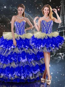 Multi-color Sleeveless Beading and Ruffles and Ruffled Layers Floor Length Sweet 16 Dresses