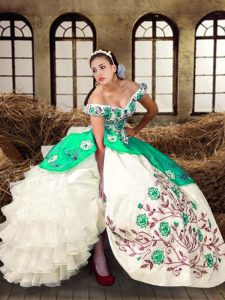 Fabulous Off The Shoulder Sleeveless Taffeta Sweet 16 Quinceanera Dress Embroidery and Ruffled Layers Lace Up