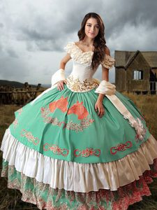 Fashion Multi-color Off The Shoulder Lace Up Embroidery and Ruffled Layers Sweet 16 Dresses Brush Train Sleeveless