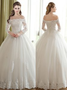 Flirting White Tulle Lace Up Off The Shoulder 3 4 Length Sleeve Floor Length Bridal Gown Lace and Appliques