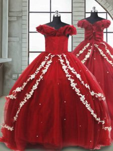 Shining Wine Red Off The Shoulder Lace Up Appliques Flower Girl Dresses Brush Train Sleeveless