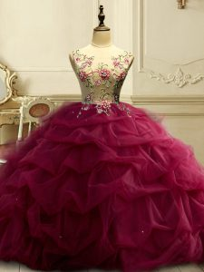 Pretty Scoop Sleeveless Lace Up Quinceanera Dress Burgundy Organza