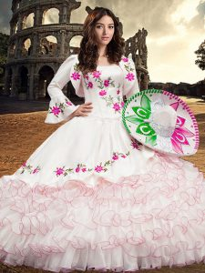 Long Sleeves Lace Up Floor Length Embroidery and Ruffled Layers Vestidos de Quinceanera