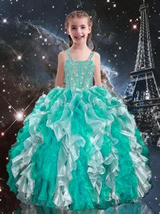 Turquoise Ball Gowns Beading and Ruffles Girls Pageant Dresses Lace Up Organza Sleeveless Floor Length