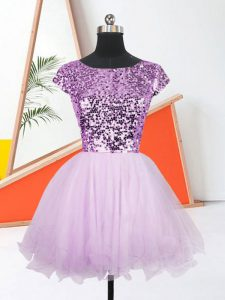 Unique Lilac Organza Lace Up Bateau Sleeveless Mini Length Evening Dress Sequins