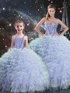 Unique Sleeveless Floor Length Beading and Ruffles Lace Up Quinceanera Gown with Lavender