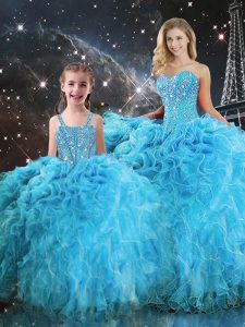 Excellent Sweetheart Sleeveless Quinceanera Dress Floor Length Beading and Ruffles Aqua Blue Organza