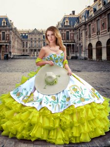 Colorful Sweetheart Sleeveless Quinceanera Gown Floor Length Embroidery and Ruffled Layers Yellow Green Organza and Taffeta