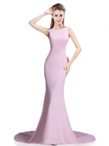 Pink Evening Dress Prom and Party with Beading and Bowknot Scoop Sleeveless Brush Train Clasp Handle