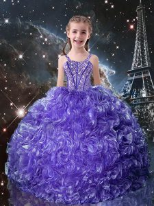 Popular Floor Length Purple Party Dress for Toddlers Straps Sleeveless Lace Up