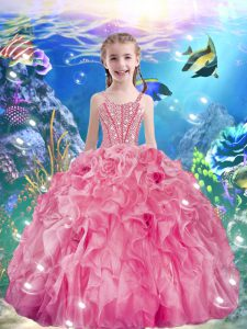 Adorable Ball Gowns Kids Formal Wear Rose Pink Straps Organza Sleeveless Floor Length Lace Up