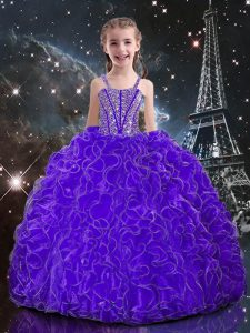 Sleeveless Organza Floor Length Lace Up Kids Formal Wear in Eggplant Purple with Beading and Ruffles