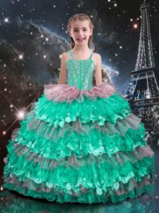 Sleeveless Lace Up Floor Length Beading and Ruffled Layers Little Girl Pageant Gowns