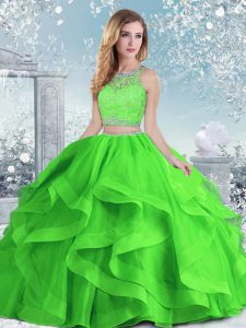 Beading and Ruffles 15 Quinceanera Dress Clasp Handle Sleeveless Floor Length