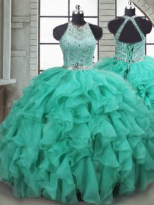 Dazzling Turquoise Sleeveless Organza Brush Train Lace Up Quince Ball Gowns for Military Ball and Sweet 16 and Quinceanera