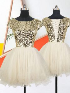 Champagne Prom Party Dress Military Ball and Sweet 16 and Quinceanera with Sequins Scoop Short Sleeves Lace Up