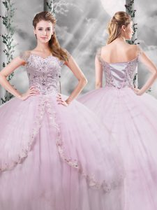 Fitting Lilac Ball Gowns Beading and Appliques Sweet 16 Dress Side Zipper Tulle Cap Sleeves