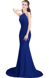Elastic Woven Satin Sleeveless Prom Dresses Brush Train and Beading