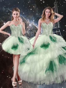 Multi-color Sleeveless Floor Length Beading and Ruffled Layers and Sequins Lace Up Vestidos de Quinceanera