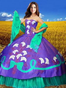 Attractive Taffeta Sweetheart Sleeveless Lace Up Embroidery 15th Birthday Dress in Multi-color