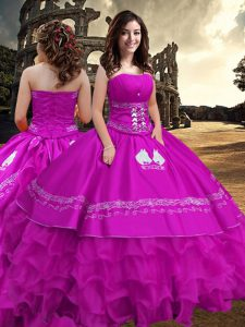 Sleeveless Embroidery and Ruffled Layers Zipper Quinceanera Dresses