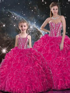 Hot Pink Ball Gowns Organza Sweetheart Sleeveless Beading and Ruffles Floor Length Lace Up Vestidos de Quinceanera