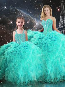 Low Price Sleeveless Organza Floor Length Lace Up Quinceanera Gowns in Turquoise with Beading and Ruffles