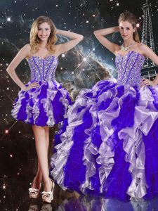 Floor Length Multi-color 15th Birthday Dress Sweetheart Sleeveless Lace Up