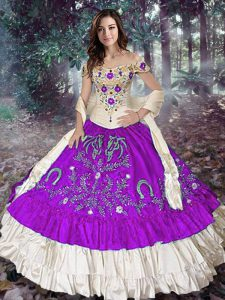 Fashion Eggplant Purple Off The Shoulder Neckline Embroidery and Ruffled Layers Quince Ball Gowns Sleeveless Lace Up