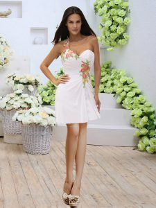 Exquisite White Sweetheart Zipper Appliques and Ruching Prom Gown Sleeveless