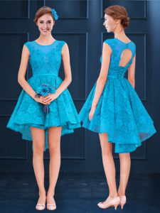 Baby Blue Scoop Neckline Lace Bridesmaid Dresses Sleeveless Lace Up