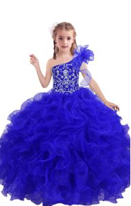 Sleeveless Organza Floor Length Lace Up Kids Pageant Dress in Royal Blue with Beading and Ruffles