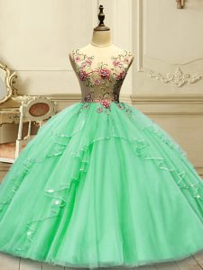 Green Sleeveless Appliques Floor Length Quinceanera Dresses