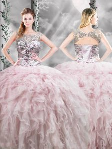 Floor Length Pink Quinceanera Dress Scoop Sleeveless Zipper