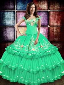 Beautiful Turquoise Taffeta Lace Up Vestidos de Quinceanera Sleeveless Floor Length Embroidery and Ruffled Layers