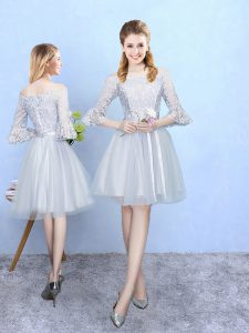 Smart Silver Lace Up Off The Shoulder Lace Wedding Guest Dresses Tulle Half Sleeves