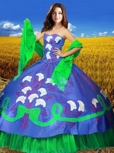 Customized Sleeveless Taffeta Floor Length Lace Up Quinceanera Gowns in Multi-color with Embroidery